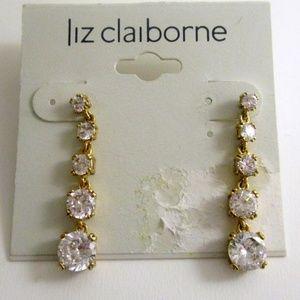 Liz Caliborne Rhinestone Gold Tone Drop Earrings